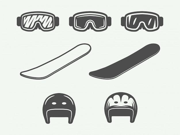 Conjunto de equipamentos de esporte de inverno vintage