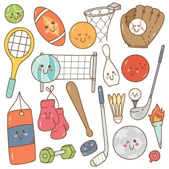Conjunto de equipamentos de esporte estilo kawaii