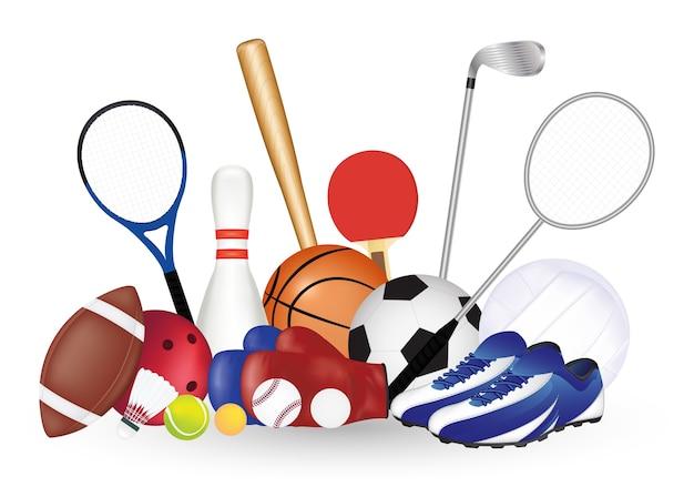 Conjunto de equipamentos de esporte