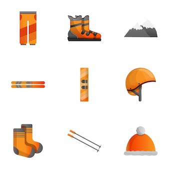 Conjunto de equipamentos de esqui, estilo cartoon
