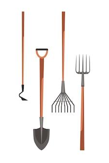 Conjunto de equipamentos de fazendeiro