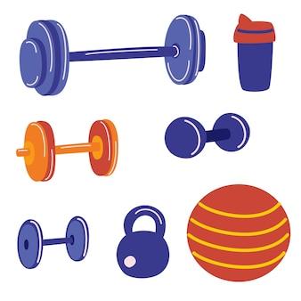 Conjunto de equipamentos de fitness e musculação. conjunto de ginástica em casa. conceito de vida saudável do esporte. conceito de atividade de fitness. objetos de vetor dos desenhos animados do ginásio de esportes.