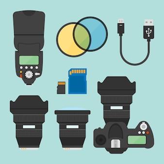 Conjunto de equipamentos de fotografia de elementos de design do vetor