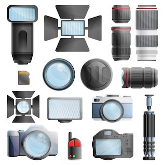 Conjunto de equipamentos de fotógrafo, estilo cartoon