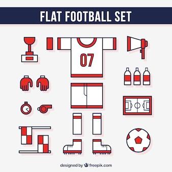 Conjunto de equipamentos de futebol