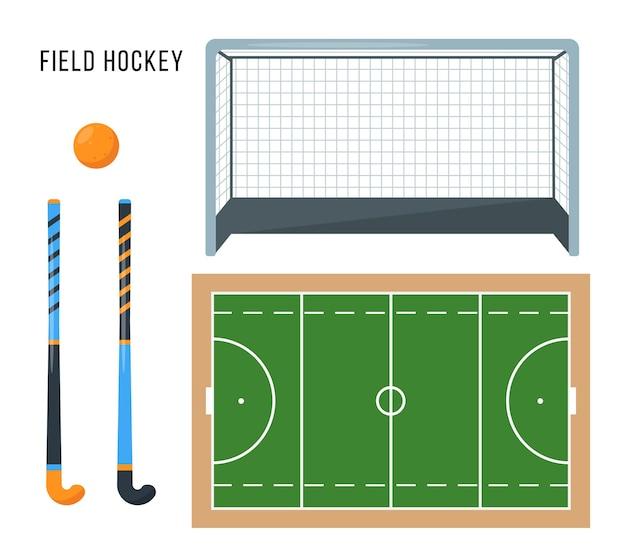 Conjunto de equipamentos de hóquei em campo sport ball sticks gate e quadra verde elementos e acessórios para partidas esportivas