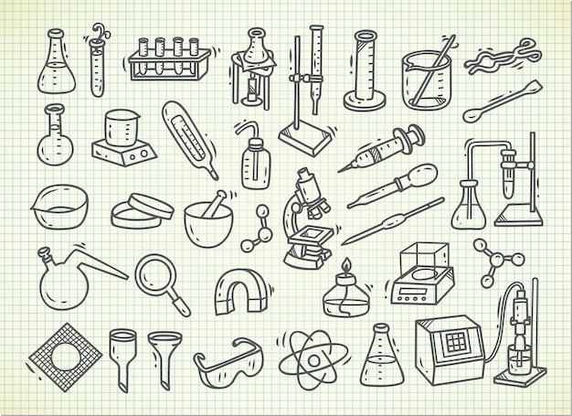 Conjunto de equipamentos de laboratório em estilo doodle