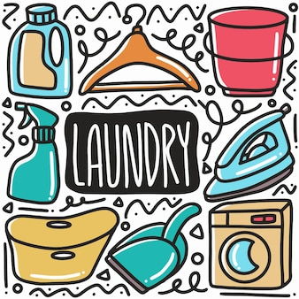 Conjunto de equipamentos de lavanderia desenhado à mão com ícones e elementos de design
