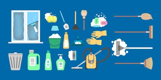 Conjunto de equipamentos de limpeza de casa. coleção de ferramentas