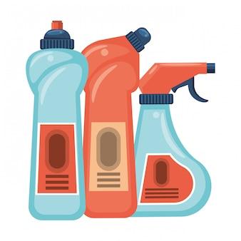 Conjunto de equipamentos de limpeza e produtos