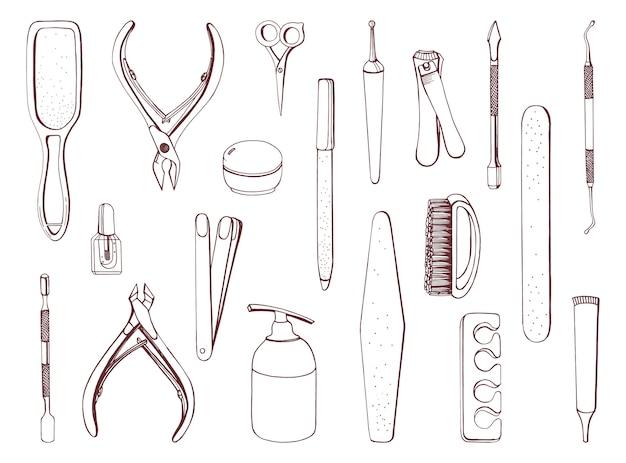 Conjunto de equipamentos de manicure. coleção de contorno de mão desenhada.