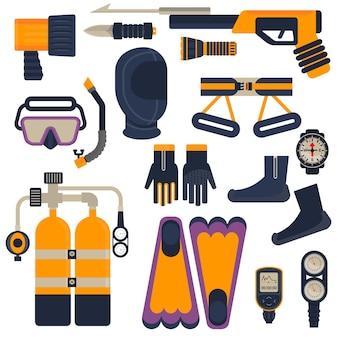 Conjunto de equipamentos de mergulho. objetos isolados no fundo. ilustração em vetor plana e dos desenhos animados.