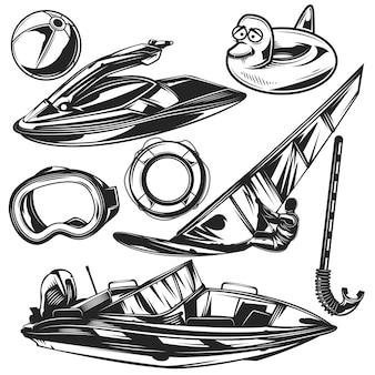 Conjunto de equipamentos de mergulho