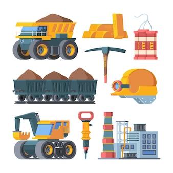 Conjunto de equipamentos de mina de pedreira