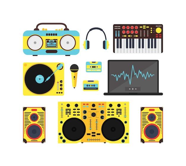 Conjunto de equipamentos de música de áudio dj. sistema de som para festa, boate. estilo.