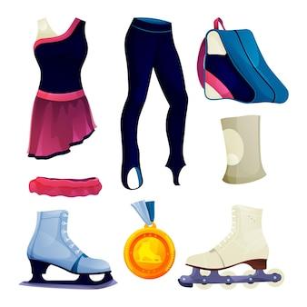 Conjunto de equipamentos de patinação no gelo ou patinação artística