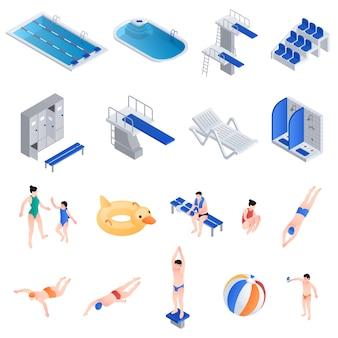 Conjunto de equipamentos de piscina, estilo isométrico
