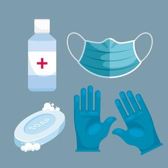 Conjunto de equipamentos de proteção contra vírus