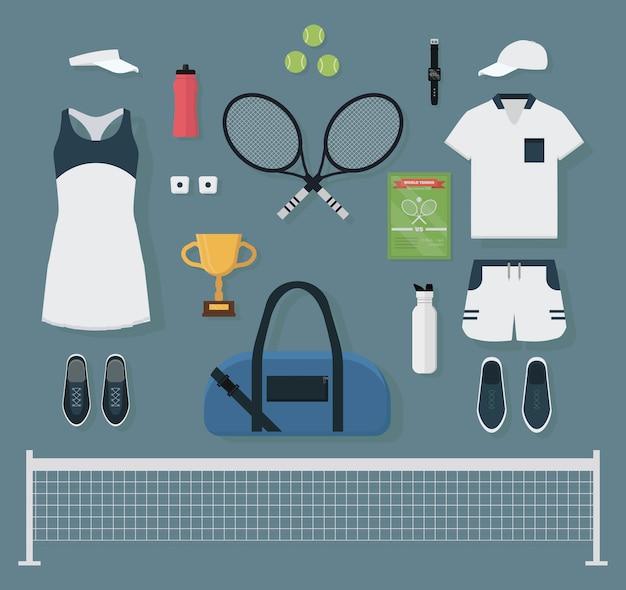 Conjunto de equipamentos de tênis