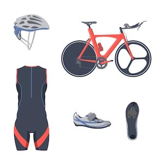 Conjunto de equipamentos de triathlon. vestuário de ciclo