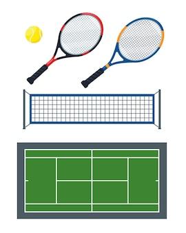 Conjunto de equipamentos e acessórios de tênis como desenhos de ilustrações de bola, rede, raquetes e quadra verde