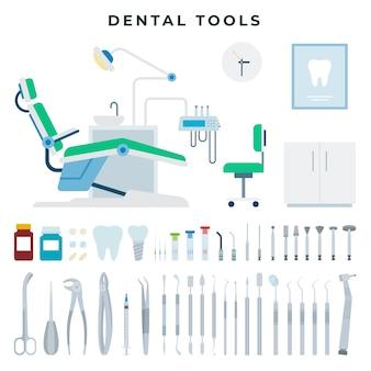 Conjunto de equipamentos e ferramentas de consultório odontológico