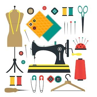 Conjunto de equipamentos e ferramentas de costura para artesanato ou hobby.