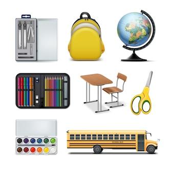 Conjunto de equipamentos e ferramentas escolares