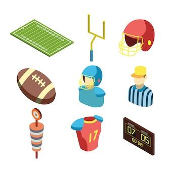 Conjunto de equipamentos esportivos de futebol americano