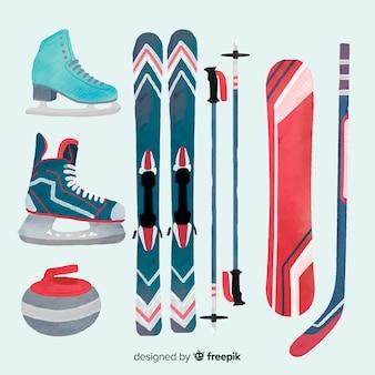 Conjunto de equipamentos esportivos de inverno