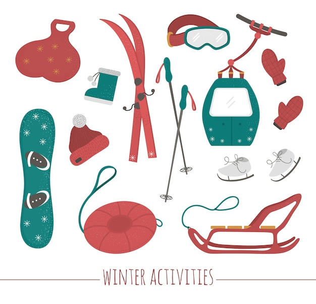 Conjunto de equipamentos esportivos para atividades esportivas de inverno. ilustração de esquis, tubo, trenó, patins, snowboard, roupas.