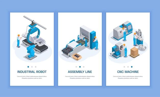 Conjunto de equipamentos industriais de três banners verticais isométricos com caracteres humanos de texto editável e ilustração de máquinas-ferramentas