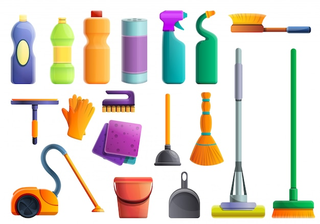 Conjunto de equipamentos mais limpos, estilo cartoon