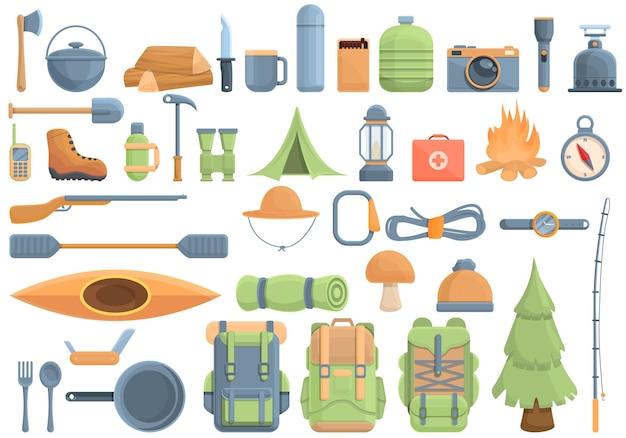 Conjunto de equipamentos para ícones de caminhada. desenho animado conjunto de equipamentos para caminhada ícones vetoriais para web design