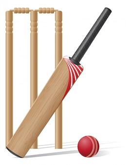 Conjunto de equipamentos para ilustração vetorial de críquete