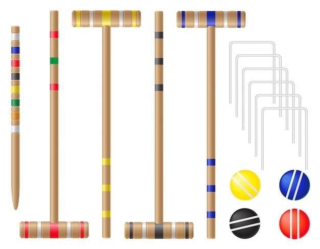 Conjunto de equipamentos para ilustração vetorial de croquet