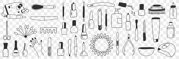 Conjunto de equipamentos para manicure doodle