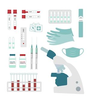 Conjunto de equipamentos para teste e vacinação contra coronavírus.