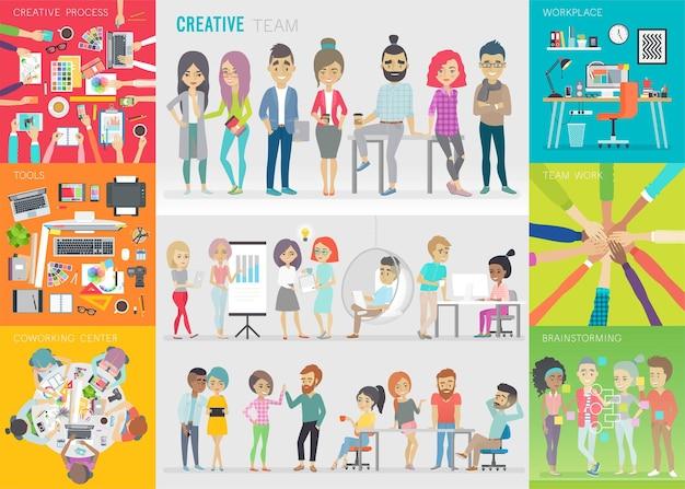 Conjunto de equipe criativa