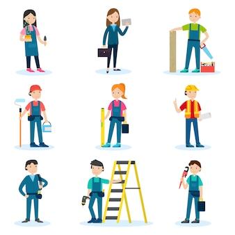 Conjunto de equipe de construção