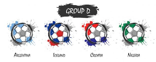 Conjunto de equipe de futebol nacional grupo d. realista aquarela arte pintura com manchado respingo