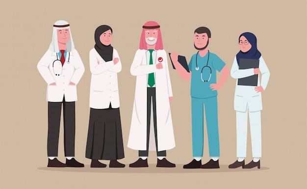 Conjunto de equipe médica árabe