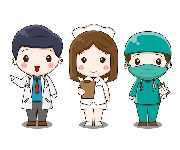 Conjunto de equipe médica