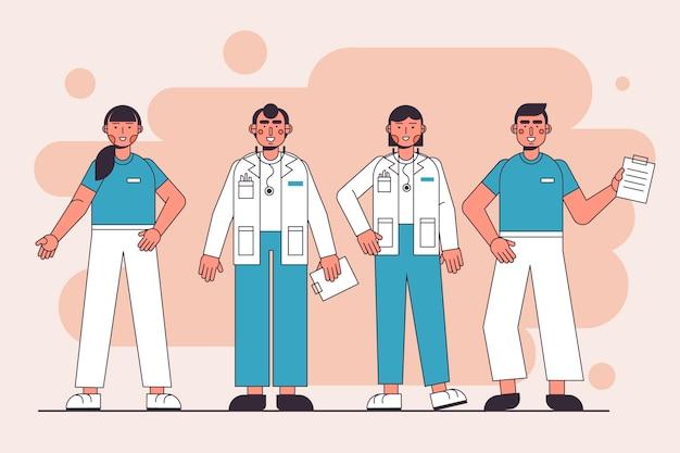 Conjunto de equipe profissional de saúde
