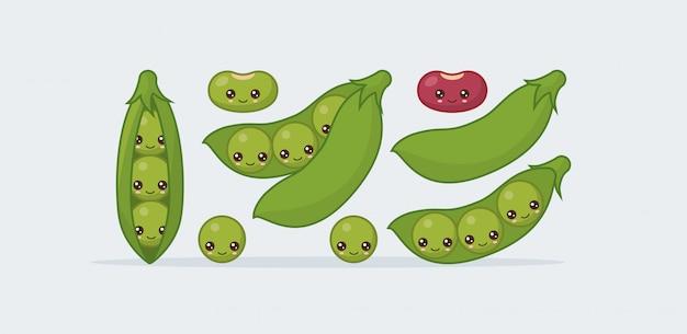 Conjunto de ervilhas, feijão. kawaii bonito comida sorridente