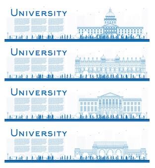 Conjunto de esboço de banners de estudo do campus universitário. ilustração