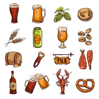 Conjunto de esboço de cerveja