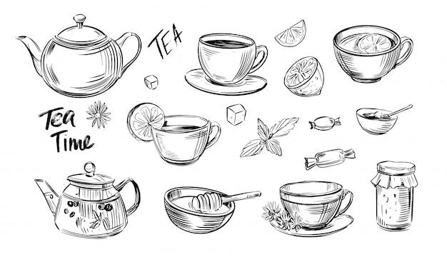 Conjunto de esboço de chá. hora do chá. ilustração