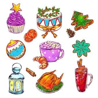 Conjunto de esboço de comida de natal