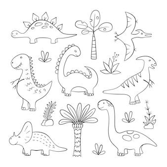 Conjunto de esboço de dinossauros e plantas pré-históricas